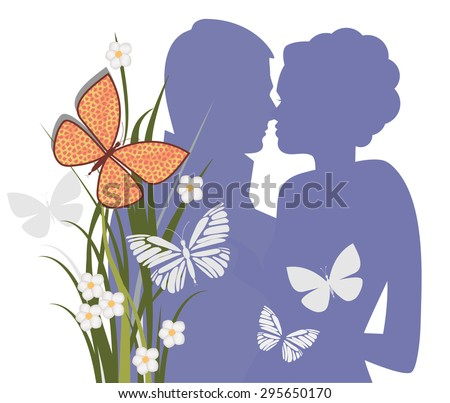 The Kiss Man and woman in embrace about to kiss (separate elements)  - stock vector