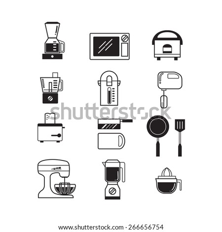 The kitchen icon set. - stock vector