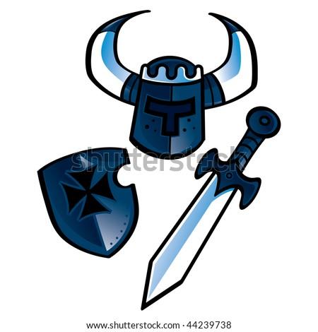 The Knights equipment (helmet, shield, sword) - stock vector