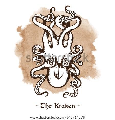 The Kraken. Legendary sea monster giant octopus hand drawn vector illustration - stock vector