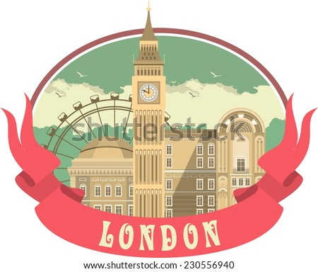 The label with the image of London's attractions and ribbon - stock vector