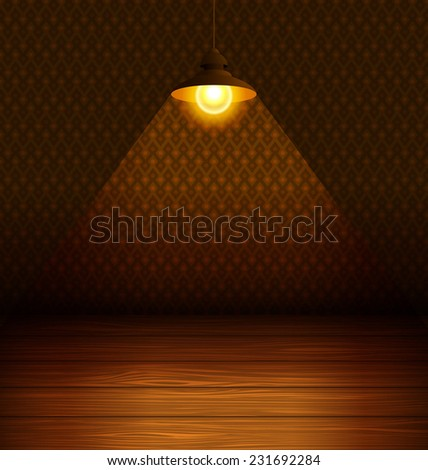 The lamp in the room with a wooden floor. Vector illustration. - stock vector