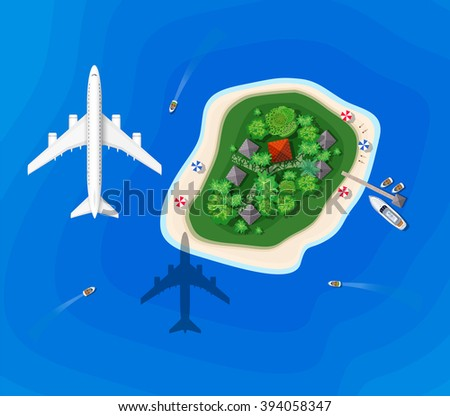 The landscape for recreation. Top view of the island paradise of rest View from helicopter seascapes. Paradise isle for vacation. Maritime hotel for rest. Travel & Leisure. Marine map with cities.