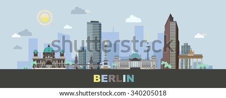 The landscape of Berlin with modern and historical buildings of the city. Vector illustration.