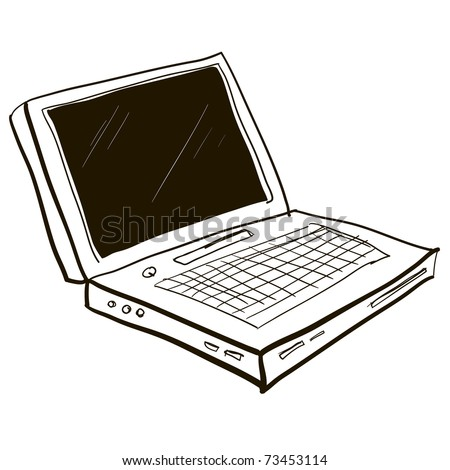 The laptop isolated on a white background. Computer cartoon. A children's sketch - stock vector