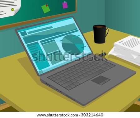 The laptop on the desk and some other work equipment - stock vector