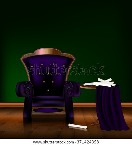 the large purple armchair in the green room - stock vector
