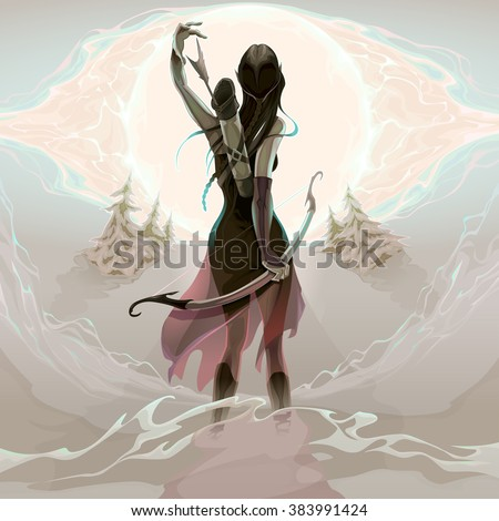 The last chance. Elf is grabbing an arrow, vector illustration. No transparency is used. - stock vector