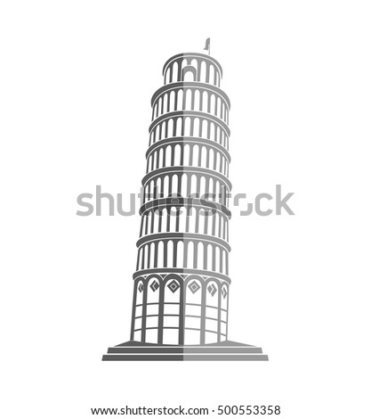 The Leaning Tower of Pisa in Italy flat icon
