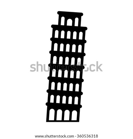 The Leaning Tower of Pisa in Italy flat icon for apps and websites - stock vector
