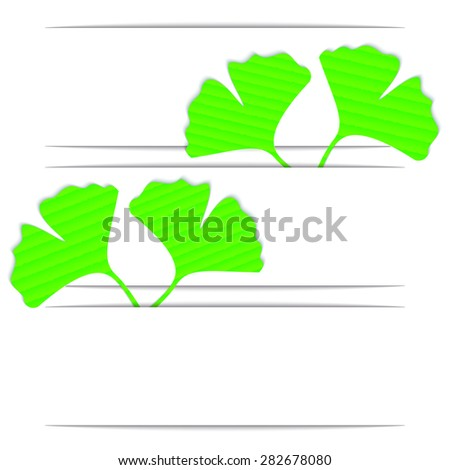 The leaves of ginkgo biloba on the curved white background , 3D paper, web design, vector, eps10 - stock vector