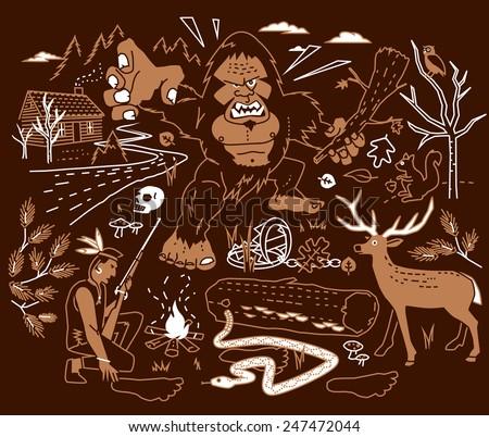 The Legend of Bigfoot - stock vector