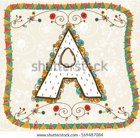 The letter A. Bright floral element of colorful alphabet. Cartoon floral ABC element in vector - stock vector