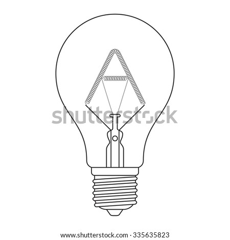 The letter A, in the alphabet Incandescent light bulb set outline style black and white color isolated on white background