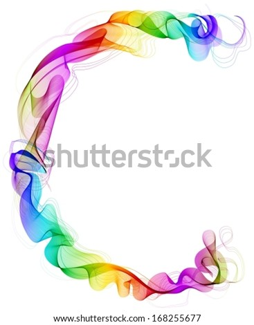 The letter C. Abstract colorful letter of beautiful smoke waves over white, Vector