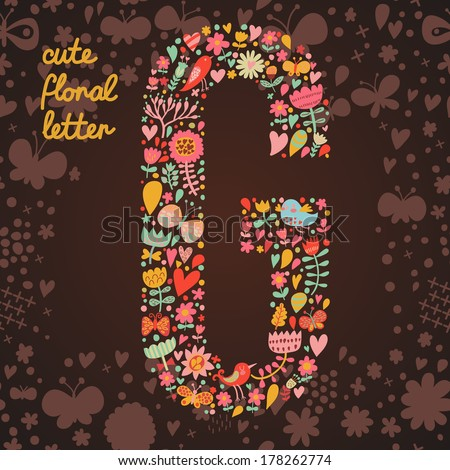 The letter G. Bright floral element of colorful alphabet made from birds, flowers, petals, hearts and twigs. Summer floral ABC element in vector - stock vector