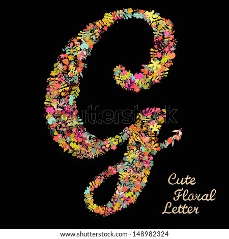 The letter G. Bright floral element of colorful alphabet made from flowers, petals, hearts and twigs. Summer floral ABC element in vector - stock vector