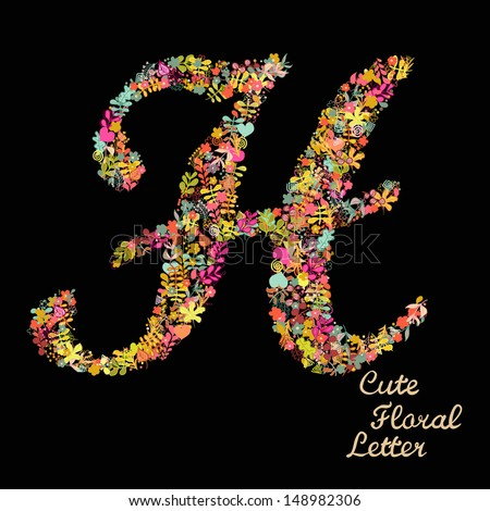 Letter H Bright Floral Element Colorful Stock Vector