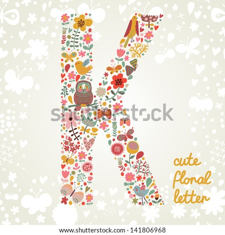 The letter K. Bright floral element of colorful alphabet made ??from birds, flowers, petals, hearts and twigs. Summer floral ABC element in vector - stock vector