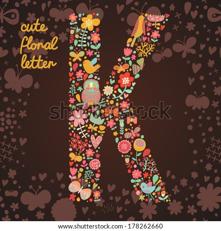 The letter K. Bright floral element of colorful alphabet made from birds, flowers, petals, hearts and twigs. Summer floral ABC element in vector - stock vector