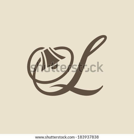 The letter L in the ideal lamp Branding Identity Corporate vector logo design template Isolated on a light background - stock vector