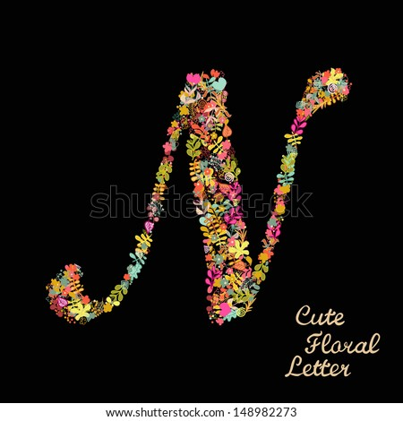 Letter n bright floral element colorful stock vector 148982273 the letter n bright floral element of colorful alphabet made from flowers petals sciox Gallery