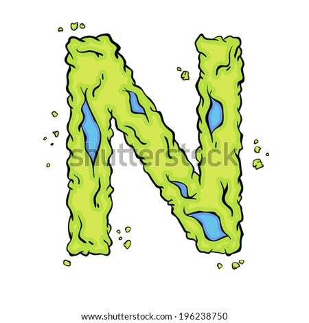 The letter N. Bright green element stylish alphabet style zombies. Halloween ABC grimy element in the vector. Hand drawn letter N isolated on white background. - stock vector