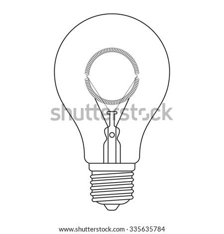 The letter O, in the alphabet Incandescent light bulb set outline style black and white color isolated on white background
