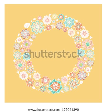The letter O - perfect floral element of colorful alphabet made from hand drawn flowers. Spring floral ABC element in vector. - stock vector
