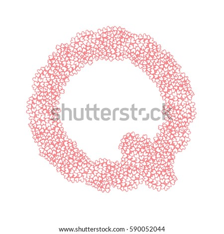 The letter Q, in the alphabet Heart flower bush illustration set flat design pink color isolated on white background, vector eps10