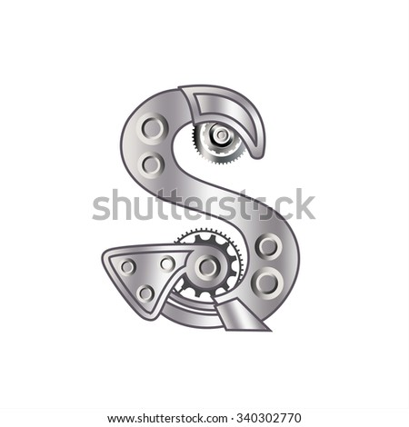 """The letter """"S"""" with gears, spare parts, bolts, screws, clockwork. Mechanical design. Metal iron and gradient. - stock vector"""