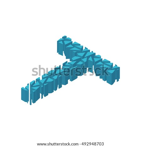 The letter T, in the alphabet broken 3d perspective isometric set blue color isolated on white background