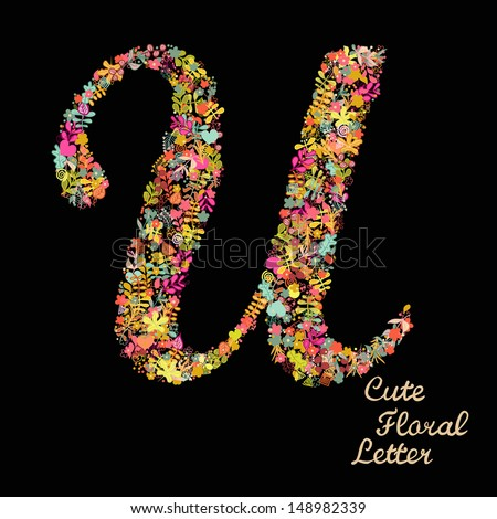 Letter U Bright Floral Element Colorful Stock Vector