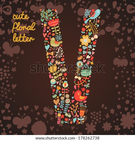 The letter V. Bright floral element of colorful alphabet made from birds, flowers, petals, hearts and twigs. Summer floral ABC element in vector - stock vector