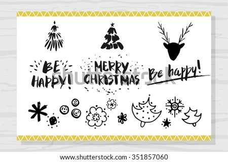 The lettering - Merry Christmas, be happy. Christmas design elements: snowflakes, snow, Christmas tree, a deer head with antlers. The broad brush. - stock vector