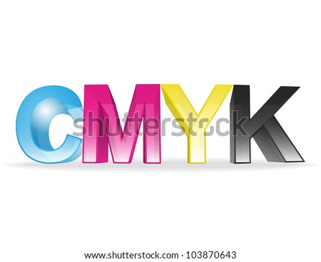 the letters CMYK on white background - vector illustration