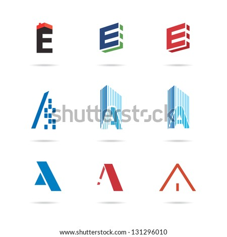 The letters e and a. set of icons - stock vector