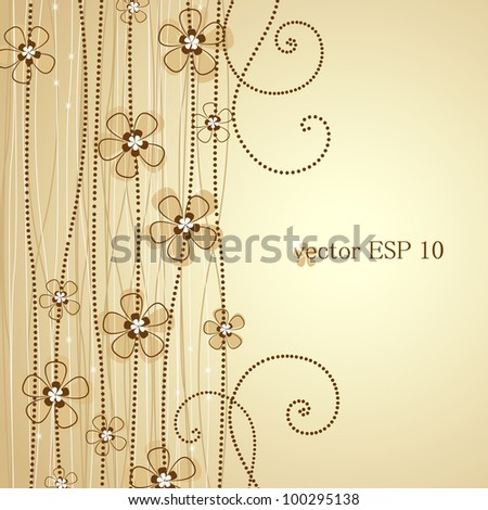 The light brown background floral decoration 1 - stock vector