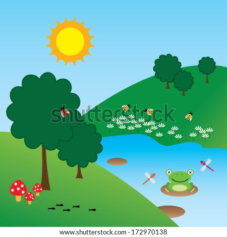 the little creatures of nature - vector landscape with bugs