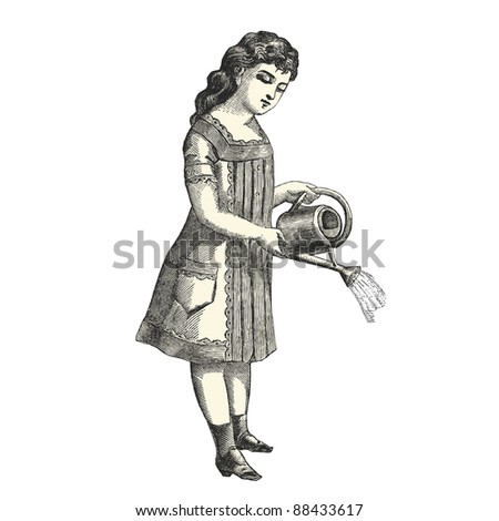"The little gardener - Vintage engraved illustration - ""La mode illustree"" by Firmin-Didot et Cie in 1882 France - stock vector"