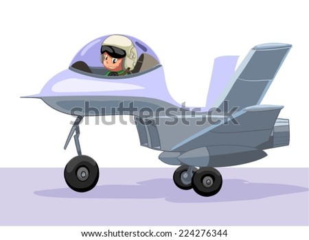 The little military pilot in Jet  aircraft