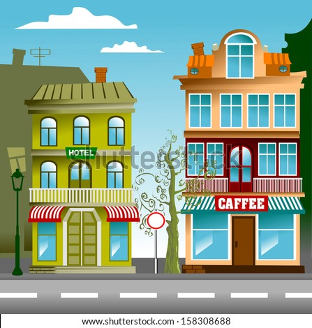 the little street of the old town, vector, illustration - stock vector