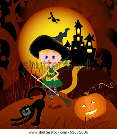 The little witch on a broom