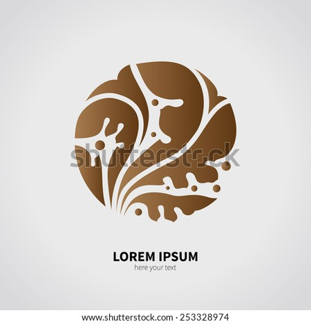The logo of the earth and plants. Brown object isolated on a gray background. The element of earth. - stock vector