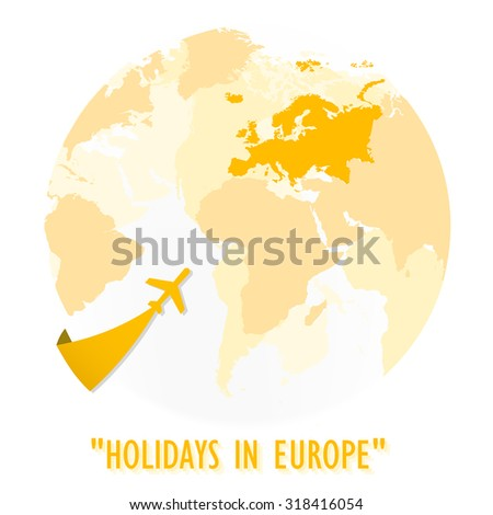 The logo of Yellow shade world map and full European boundary with go to Europe plane icon direction.(EPS10 Art vector) - stock vector