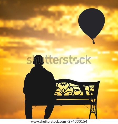The lonely man sits on a bench against a decline. Vector EPS 10. - stock vector