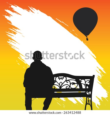 The lonely man sits on a decline. - stock vector