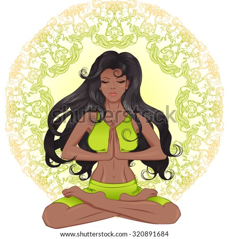 The long hair African American girl sitting in the lotus position with a mandala background. Vector illustration for a spa, yoga studio, natural medicine clinic. - stock vector