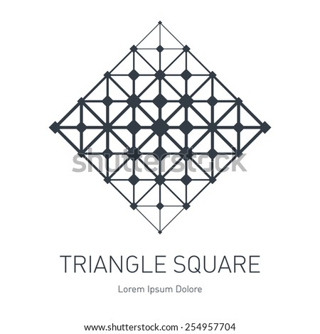 The low-poly mesh. Modern stylish logo. Design element with squares, triangles and rhombus. Vector logotype template. Grid structure. - stock vector