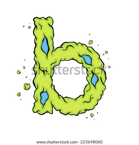 The lowercase letter B. Bright green element stylish alphabet style zombies. Halloween ABC grimy element in the vector. Hand drawn letter B isolated on white background.  - stock vector